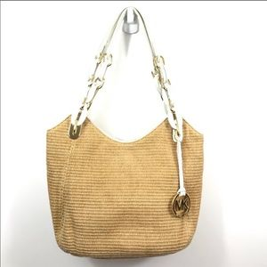 Michael Kors straw and patent leather bag